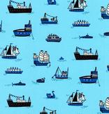 Robert Kaufman Hello Lucky Blue Ships
