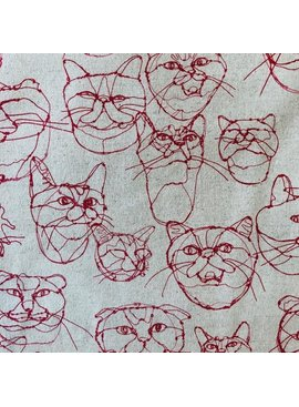 Kokka Kokka Sketched Cat Faces Red on Natural