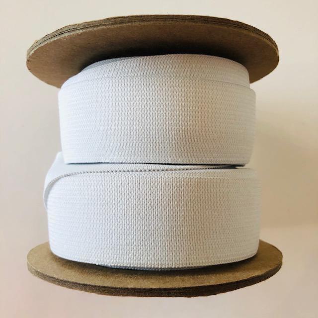 "Conrad Jarvis White Knit Elastic 1 1/4"" (per yard)"