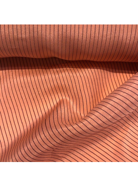 S. Rimmon & Co. Coral Pink Silk with Navy Pinstripe