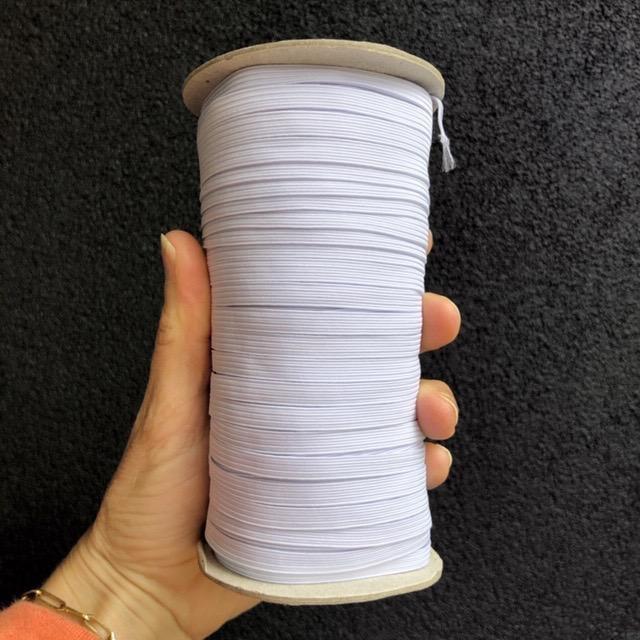 """White Knit Braided Elastic 1/4"""" (144 yard roll)"""