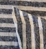 Fabric Mart Striped White / Navy Lightweight Sweater Knit