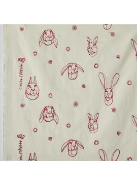 Kokka Kokka Embroidered Rabbit Cream