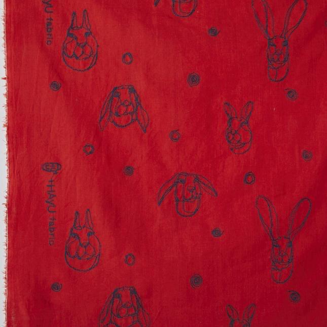 Kokka Kokka Embroidered Rabbit Red