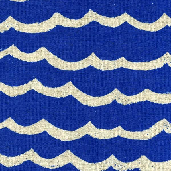 Cotton + Steel Kujira & Star by Rashida Coleman-Hale: Waves Canvas Blue Sea