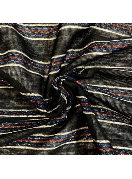 Stylecrest Fabrics Black, Gold, Red Blue Striped Metallic Knit