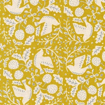 Robert Kaufman Sevenberry Cotton Flax Prints Chartreuse