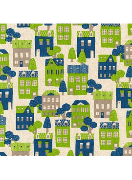 Robert Kaufman Sevenberry Cotton Flax Prints Blue Green Houses