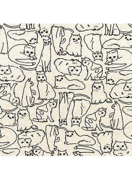 Robert Kaufman Sevenberry Cotton Flax Prints Cats Natural