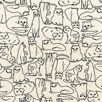 Robert Kaufman Sevenberry Cotton Flax Prints Cats Natural