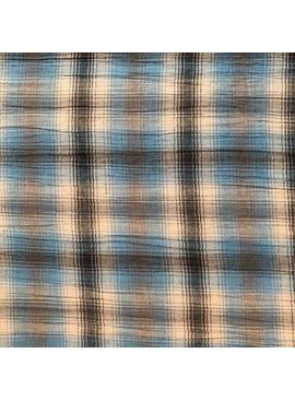 S. Rimmon & Co. Plaid Blue / Brown Crinkle Gauze Shirting