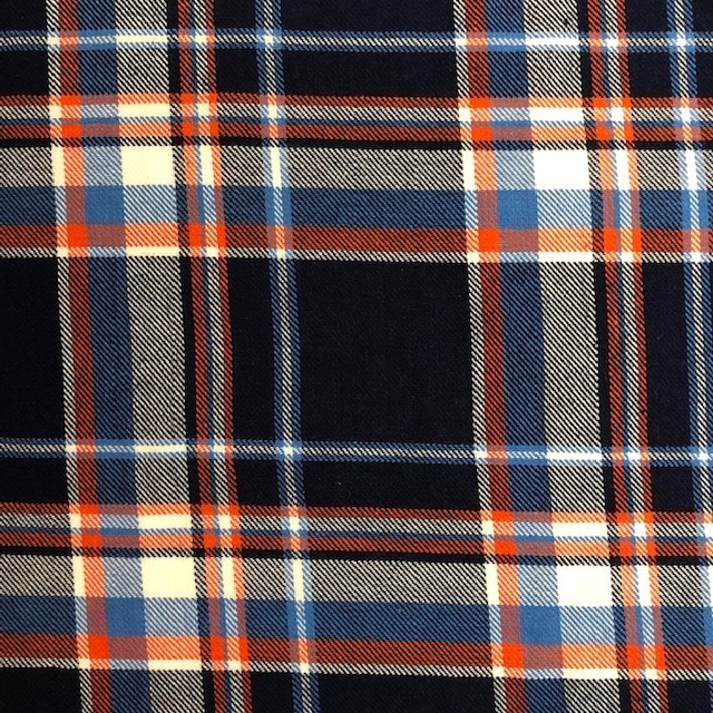 Fabric Mart Navy / Orange Twill Plaid