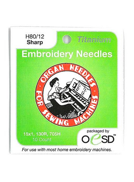 Brewer Organ Embroidery Sharps Titanium Needles 80/12