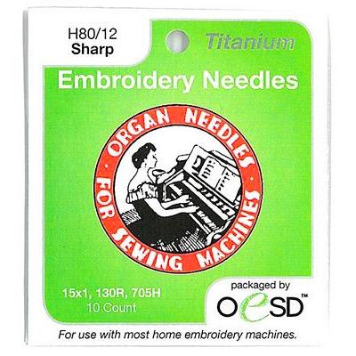 Brewer Organ Embroidery Sharps Titanium Needles 80/12