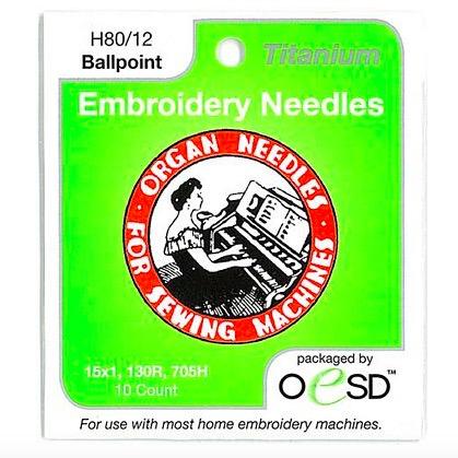 Organ Organ Embroidery Ballpoint Titanium Needles  80/12