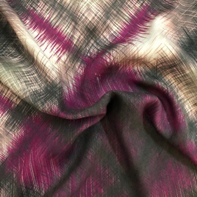 Fuschia / Grey Rayon Plaid Print