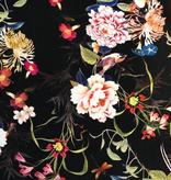 Elliot Berman Black Floral German Viscose Rayon Crepe