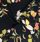 Elliot Berman Black Floral Italian Viscose Rayon