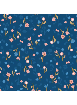 Cotton + Steel Cotton + Steel Neko and Tori Flower Picking Blue Rayon
