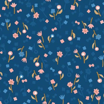 Cotton + Steel Neko and Tori by Cotton + Steel Flower Picking Blue Rayon