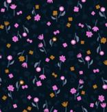 Cotton + Steel Cotton + Steel Neko and Tori Flower Picking Night Rayon