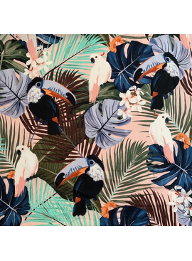 Elliot Berman Blush Tropical Bird Cotton Lawn