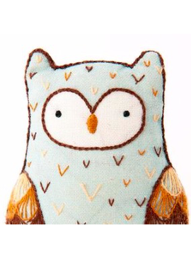Kiriki Press Kiriki Press Embroidered Doll Kit Horned Owl