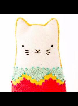 Kiriki Press Kiriki Press Embroidered Doll Kit Fiesta Cat