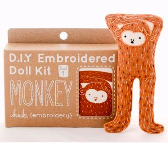 Kiriki Press Kiriki Press Embroidered Doll Kit Monkey