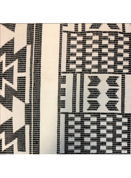 AKN Fabrics African Woven Kente Cloth —Black and Cream Geometric Shapes