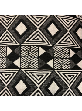 AKN Fabrics African Woven Kente Cloth —Black and Cream Geometric Rows of Diamonds