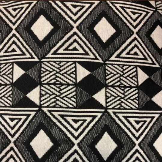 AKN Fabrics African Woven Kente Cloth —Black and Cream Geometric Rows of Diamonds