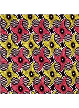 Fabrics USA Inc Ankara - Peach and Yellow Swirls on Checkered background
