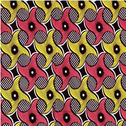 Fabrics USA Inc Ankara - Peach and Yellow Swirls on Checkered background