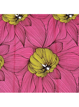 Fabrics USA Inc Ankara - Pink, Yellow Large Flowers