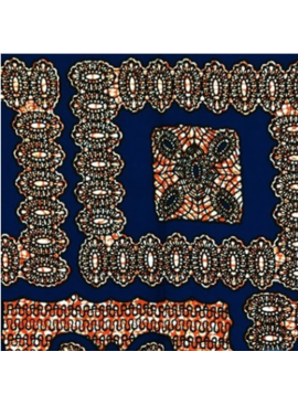 "Fabrics USA Inc Ankara - Blue, Orange ""Bandana"" print"