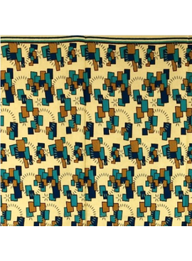 Fabrics USA Inc Ankara - Teal, Gold, Blue blocks on Wheat Background