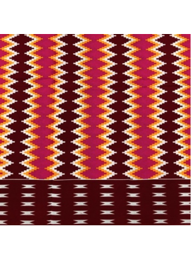 Fabrics USA Inc Ankara -  Red, orange and hot pink tribal zig-zag