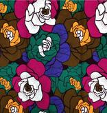 Fabrics USA Inc Ankara -  Large olive, purple, gold and green roses