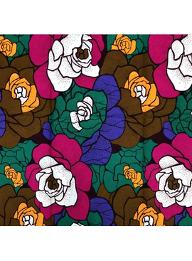 Fabrics USA Inc Ankara -  Large olive, purple, gold and green roses