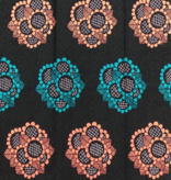 Fabrics USA Inc Ankara -  Peach and teal bouquets on olive and black background