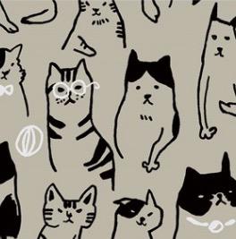 Kokka Cats Linen Canvas