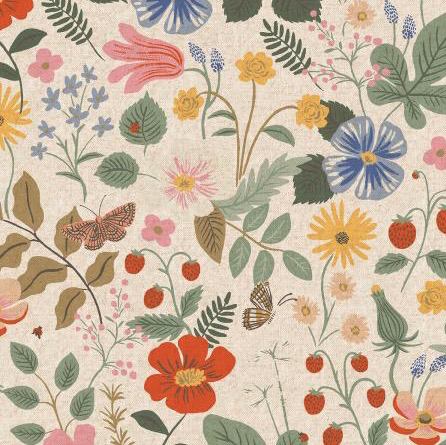 Rifle Paper Co Strawberry Fields by Rifle Paper Co. Linen Unbleached Canvas