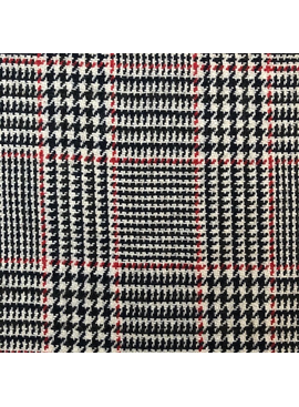 Fabric Mart Plaid  Red / Black / White Wool Coating