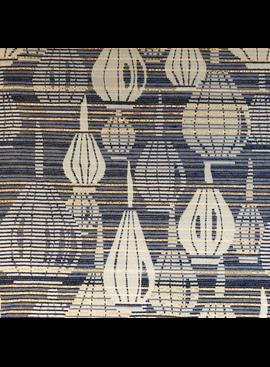 Elliot Berman French Brocade  Blue / Gold Metallic Lanterns