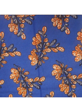 AKN Fabrics Ankara Orange and Navy Leaves on royal background