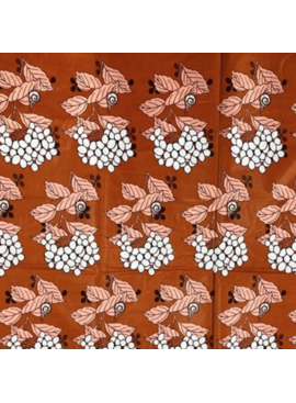 Fabrics USA Inc Ankara - Polished White flowers on orange background