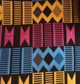 AKN Fabrics African Woven Kente Cloth — Cyan, Gold, Magenta Geometric stripes