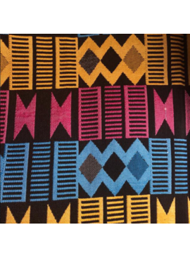 AKN Fabrics African Woven Kente Cloth — Cyan, Gold, Magenta Geometric stripes
