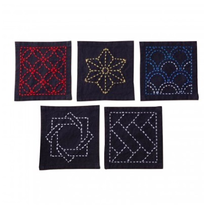 Olympus Tsumugi Cloth Sashiko Coasters Black